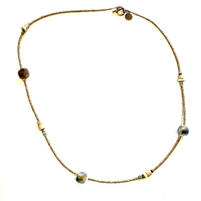 Matte Gold & Beach Glass Necklace - Beauty In Stone Jewelry