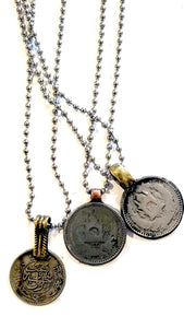vintage coin on ball chain necklace