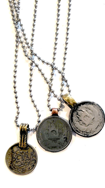 Vintage Coin On Ball Chain Necklace - Beauty In Stone Jewelry