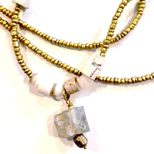 Load image into Gallery viewer, Matte Gold Beaded Glass Necklace