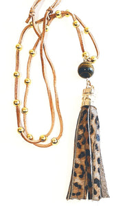 leopard tassel necklace adjustable suede strap