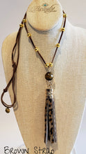 Load image into Gallery viewer, leopard tassel necklace adjustable suede strap
