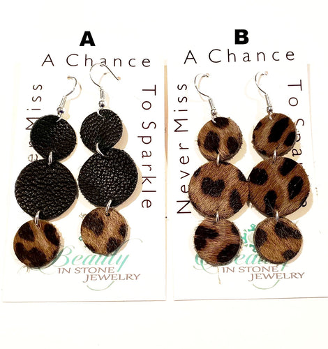 leather earring leopard circle