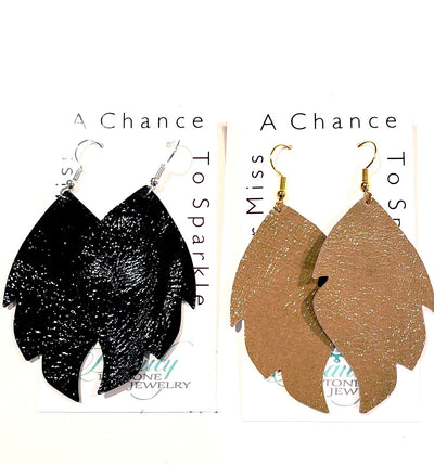 Patient Leather Leaf Shape Earrings - Beauty In Stone Jewelry