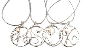 Custom Silver Wire Monogram Pendant Necklace