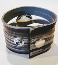 Load image into Gallery viewer, Leather Cuff Black & Metallic Silver Personalized