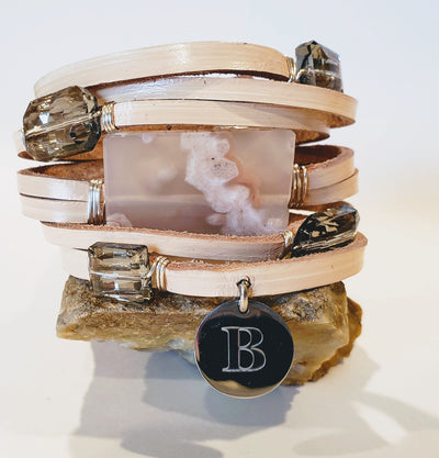 Leather Cuff with  Blossom Agate - Beauty In Stone Jewelry