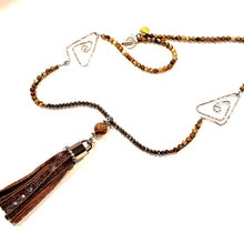 Load image into Gallery viewer, leather tassel necklace with picture jasper gemstone, crystal and aluminum