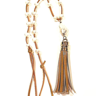 Leather Tassel Necklace With Pearls - Beauty In Stone Jewelry