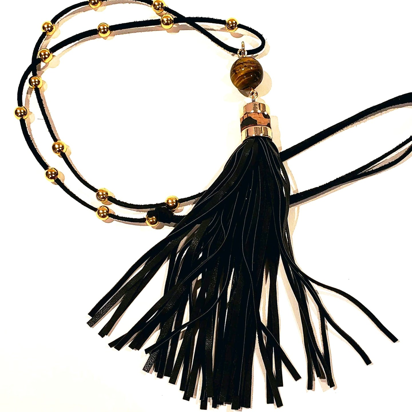 Black tassel necklace with tiger eye gemstone adjustable