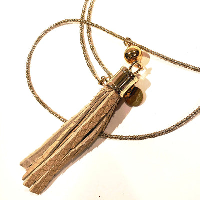 Snake leather tassel with crystal glass gold beads