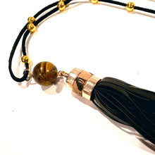 Load image into Gallery viewer, Black tassel necklace with tiger eye gemstone adjustable