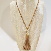 Load image into Gallery viewer, Cork tassel necklace metallic gold adjustable with crystal