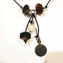 Load image into Gallery viewer, Agate gemstone on knotted leather necklace. Brown, black. Vintage coin