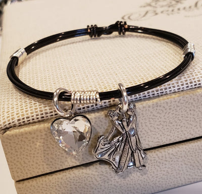 Wire bracelet with ballroom dance couple and heart charm black