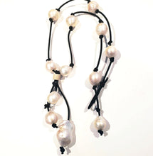 Load image into Gallery viewer, Freshwater baroque pearl necklace on knotted genuine leather with tassel
