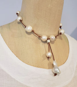 Freshwater baroque pearl necklace on brown knotted genuine leather with tassel