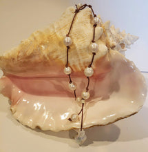 Load image into Gallery viewer, Freshwater baroque pearl necklace on brown knotted genuine leather with tassel