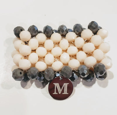 7 Row Beaded Bracelet In  Cream/Gray - Beauty In Stone Jewelry