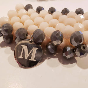 7 Row Beaded Bracelet In  Cream/Gray Personalized