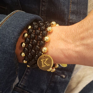 7 Row Gemstone Cuff Bracelet In Black/Gold Handmade