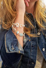 Load image into Gallery viewer, Chain & Gemstone Bracelet Chalcedony & Larimar Handmade