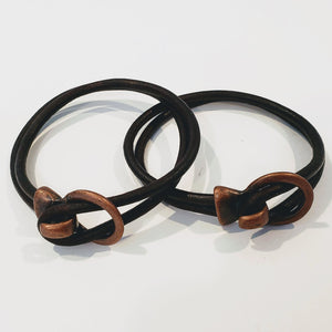 His and Her Leather Bracelet Brown Antique Brass