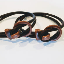 Load image into Gallery viewer, His and Her Leather Bracelet Brown Antique Brass