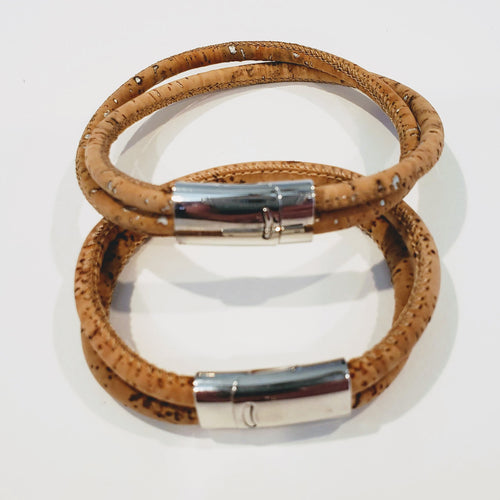 His and Her Cork Bracelet Double Band Natural & Silver Metallic