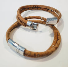Load image into Gallery viewer, His and Her Cork Bracelet Double Band Natural & Silver Metallic