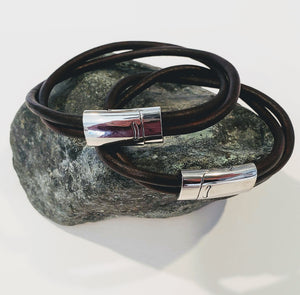 His and Her Leather Bracelet Double Band