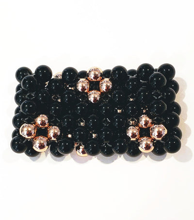 7 Row Gemstone Cuff Bracelet In Black/Rose Gold