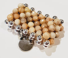 Load image into Gallery viewer, 7 Row Gemstone Bracelet In Beige Moonstone/Silver Handmade