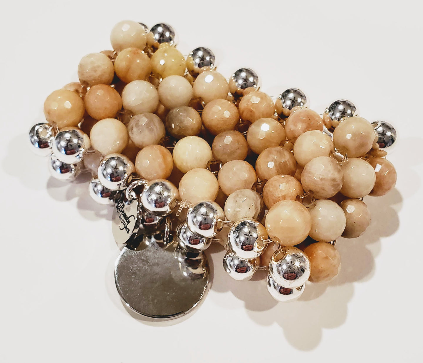 7 Row Gemstone Bracelet In Beige Moonstone/Silver Handmade