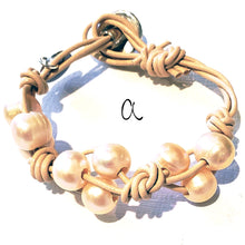 Load image into Gallery viewer, Knotted Leather Freshwater Pearl Bracelet In 3 colors