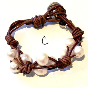 Knotted Leather Freshwater Pearl Bracelet In 3 colors