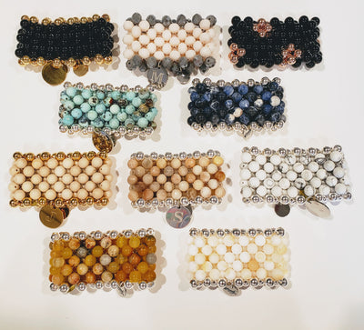 Band Of Glam Stone Cuff Bracelet Choose Color - Beauty In Stone Jewelry