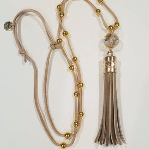 Tan Patent Leather Tassel Necklace gold beads faceted crystal