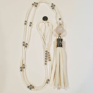 Summer White Tassel Necklace silver beads, white stone