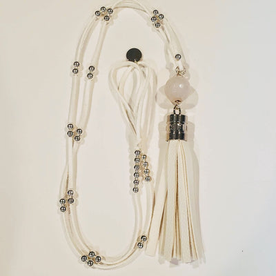 Summer White Tassel Necklace - Beauty In Stone Jewelry