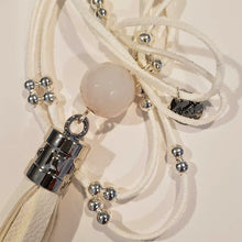 Load image into Gallery viewer, Summer White Tassel Necklace silver beads, white stone