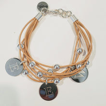 Load image into Gallery viewer, Leather With Monogrammed Charm Bracelet