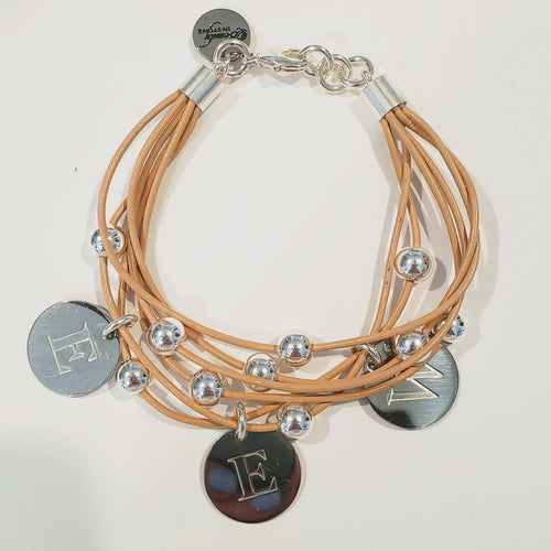 Leather With Monogrammed Charm Bracelet