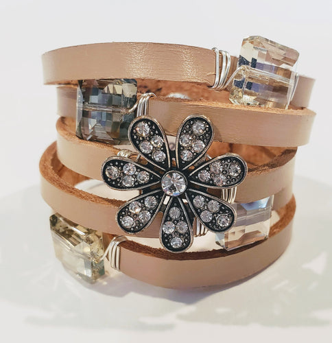 Leather Cuff with  Vintage Rhinestone Flower