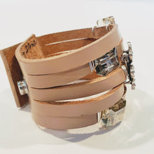 Load image into Gallery viewer, Leather Cuff with  Vintage Rhinestone Flower Blush