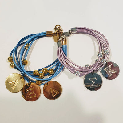 Sorority Leather Bracelet With Greek Letter Engraved Charms