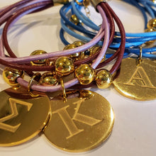 Load image into Gallery viewer, Sorority Leather Bracelet With Greek Letter Engraved Charms