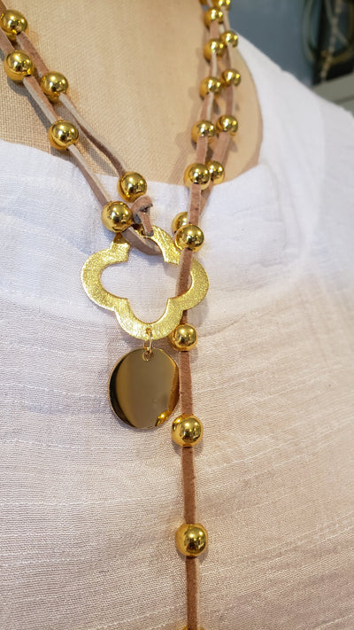 Gold Beaded Lariat With Quatrefoil Clover on Suede Leather - Beauty In Stone Jewelry