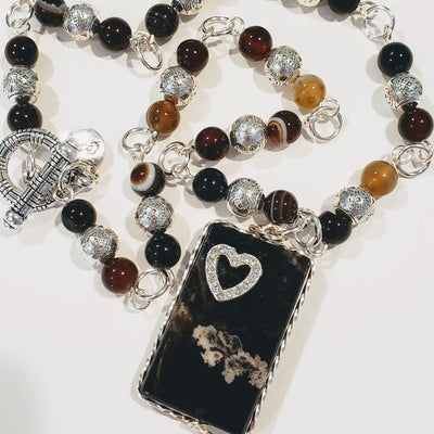 Natural Gemstone Beaded Necklace Black/Brown - Beauty In Stone Jewelry