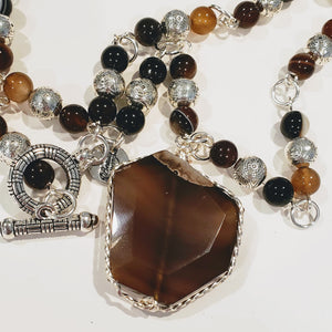 Brown Natural Gemstone Beaded Necklace